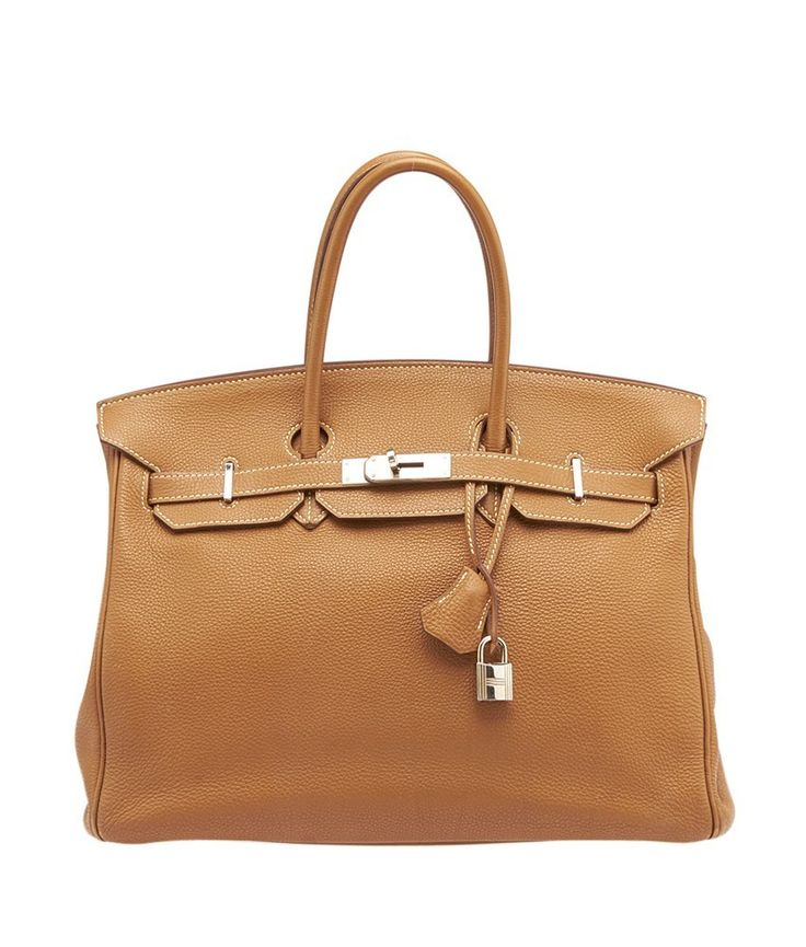 This Hermes Birkin 35 features silver-tone hardware, dual rolled leather handles, and a signature double strap, flap, and lock clasp closure. It shows slight vertical lines to the exterior, significan