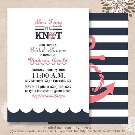 Tying the Knot Nautical Bridal Shower Invitations - Modern Nautical Invitations