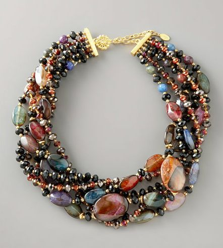 Jose and Maria Barrera twisted strand necklace.  Dyed agate with glass beads, faceted black jet and iridescent red glass crystals.  #jewellery #jewelry