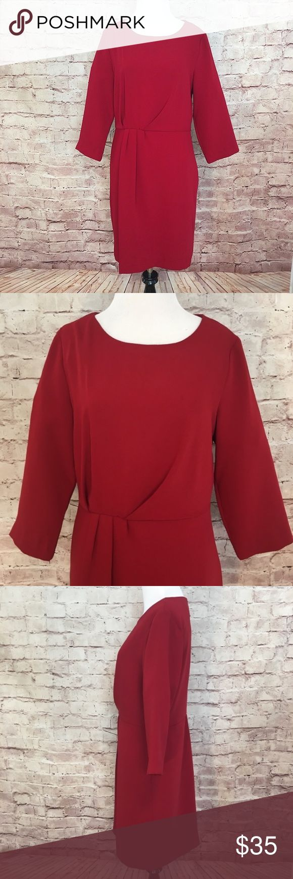 """Massimo Dutti Red Dress Beautiful power red lined power red dress with 3/4 sleeves and side hidden zipper.  There is no fabric tag, but I believe it is a polyester blend. Size 8. Bust 36"""". Length 37"""". Like new condition. No flaws or signs of wear. Massimo Dutti Dresses"""