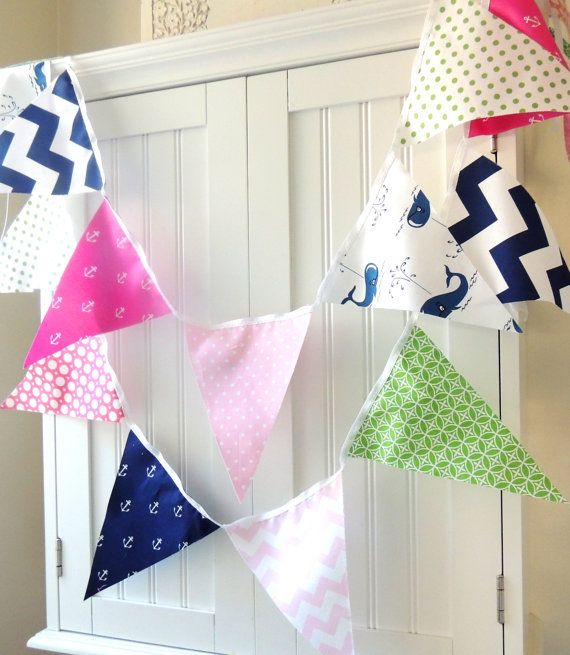 21 fabric flag bunting 9 feet nautical girl whales for Nautical nursery fabric