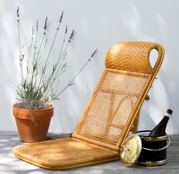 Vintage Folding Rattan Beach Lounge Chair by TheRubberSol on Etsy #rattan #vintage #beach