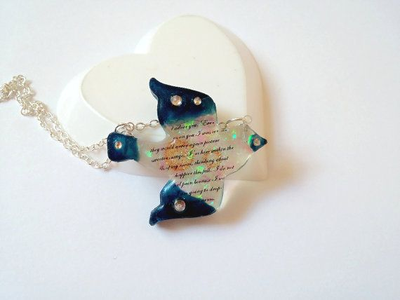 Resin Necklace Resin Pendant Resin Charm Bird by LittleWoolShop, $15.00