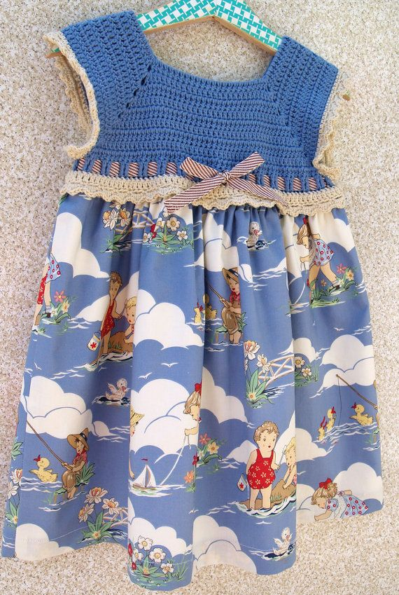 Toddler Girl Sundress  Periwinkle Blue and Red by lesjardinsdevie, $48.00