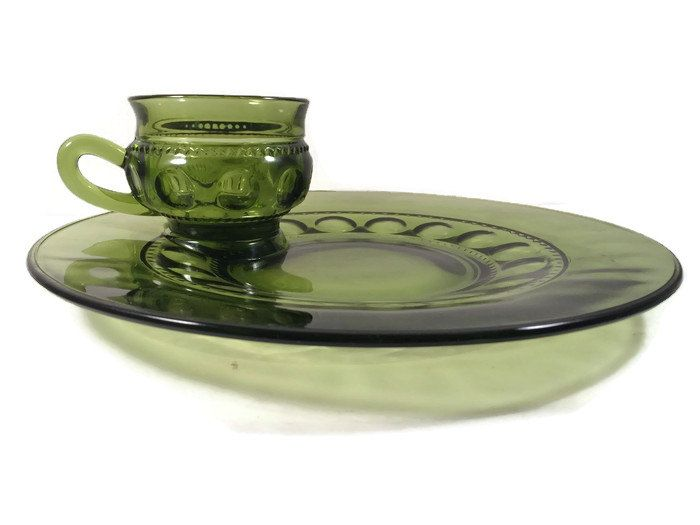 Just in: Avocado Green Glass Thumbprint Kings Crown Luncheon Plates and Cups by Indiana Glass Snack Plates 1960s https://www.etsy.com/listing/458190620/avocado-green-glass-thumbprint-kings?utm_campaign=crowdfire&utm_content=crowdfire&utm_medium=social&utm_source=pinterest