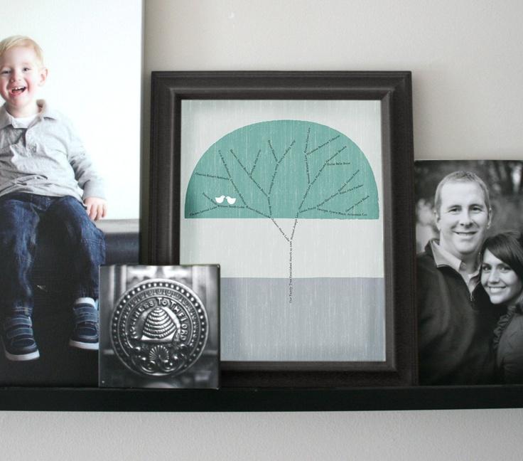 Custom Family Tree with Love Birds. PRICE JUST REDUCED $35.00, via Etsy.