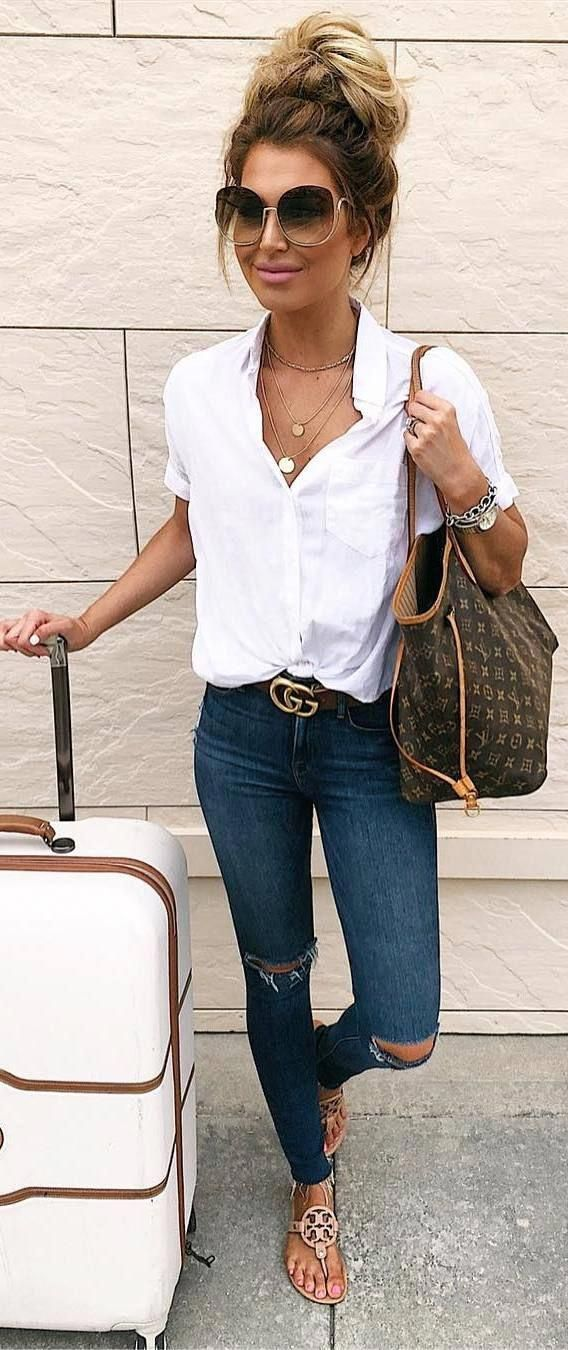 Casual summer outfits / white blouse and jeans outfit / travel outfit / airport …