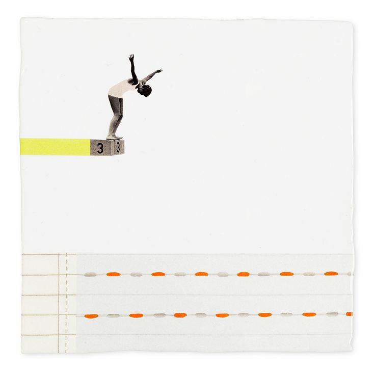 storytiles by Marga van Oers; new collection spring 2017  Een sprong in het diepe