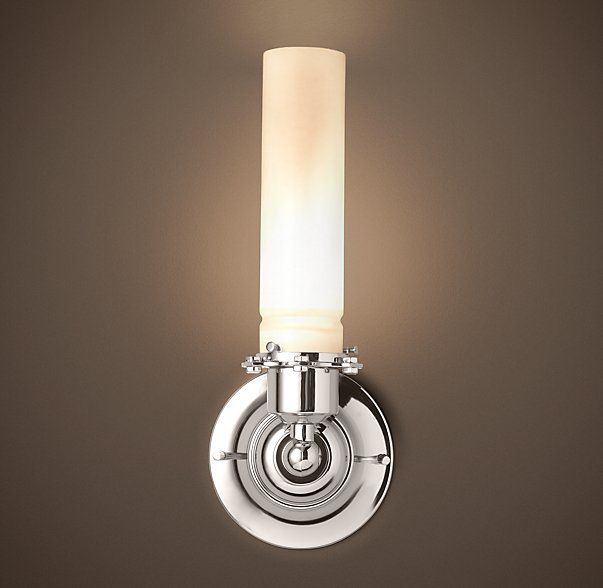 Edison Milk Glass Sconce this is not bad $179 for polished nickel. RH.com Love the Waterworks way more.