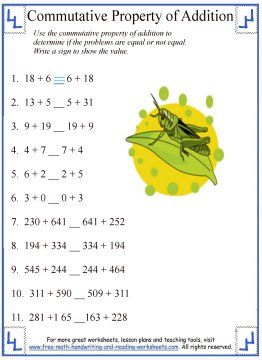 Properties Of Addition Worksheets & commutative property