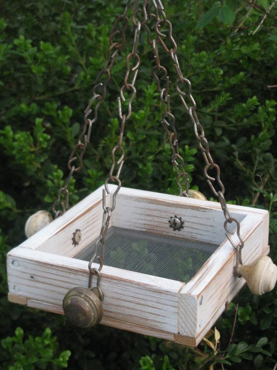 ***SOLD***     The Tree Sparrow  Mini Bird Feeder Tray Recycled by gardenfinds, $30.00/Cardinals will use any high tray feeder.