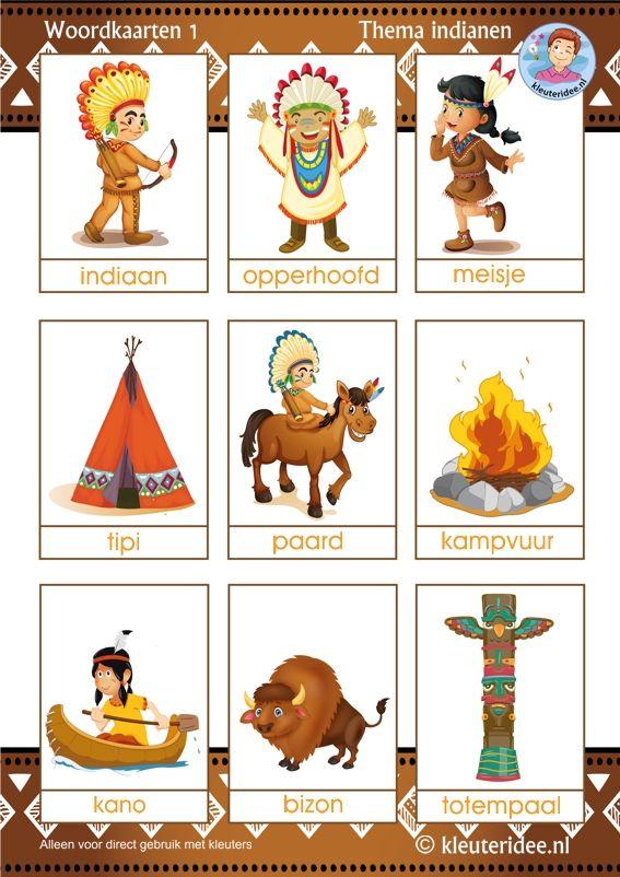 Woordkaarten voor kleuters 1, thema indianen, kleuteridee, free printable