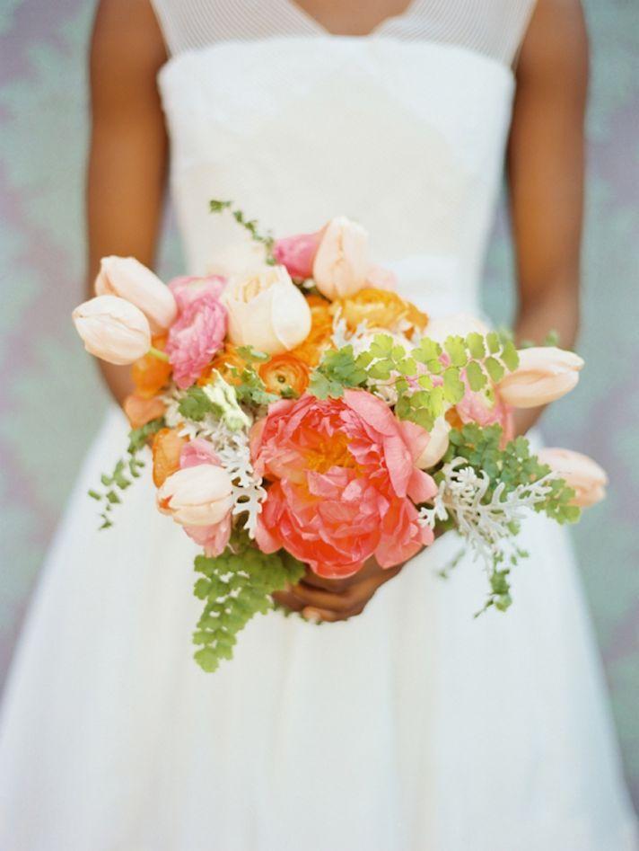 romantic wedding flowers anemones tulips peonies bridal bouquet bridesmaids flowers