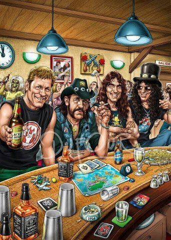 Very cool cartoon portraiture of Lemmy, Slash and a few others hanging around a bar.