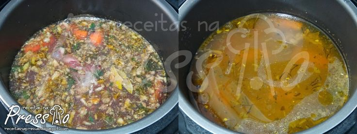 Caldo Caseiro na Pressão de Carne ou Frango, Legumes, Peixe, Costela, Bacon, etc...