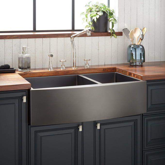 42 Sunflower 60 40 Offset Double Bowl Copper Farmhouse Sink