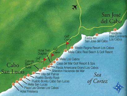 Cabo San Lucas Hotels | Map of Los Cabos | Sailin' N SEA ...