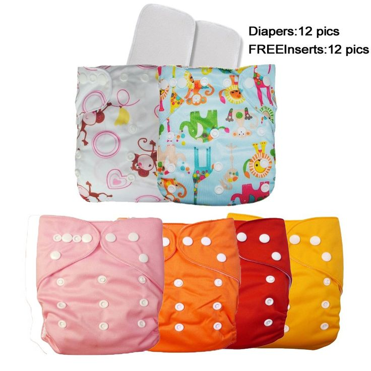 12 Baby Boys/Girls Waterproof Reusable Pocket One Size Cloth Diapers+12 Free Inserts