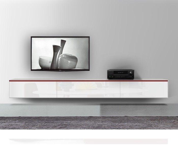 Novamobili Reverse Lowboard TV Möbel Hängend B 300 cm H 42,6 cm T 37,4 cm Hochglanz Weiss Rosso Griff