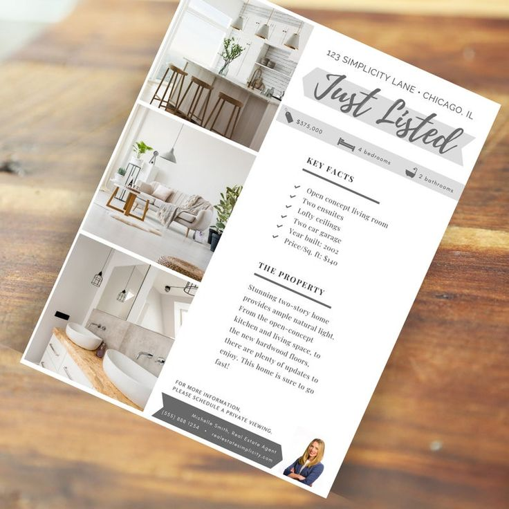 Real Estate Flyer Template, Just listed flyer, Realtor