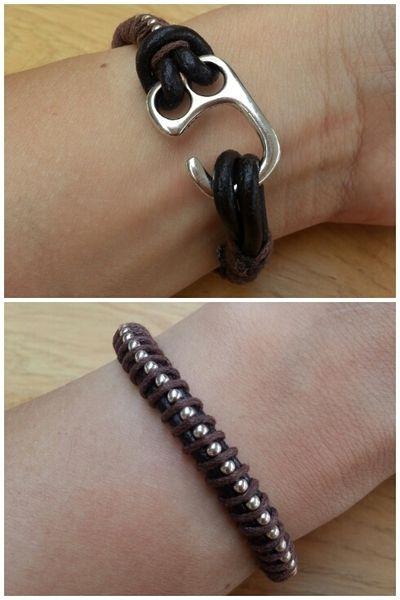Bruin leren armband met zilveren ketting. van Made-by-Kelly op http://nl.dawanda.com/shop/bracelets-armbanden