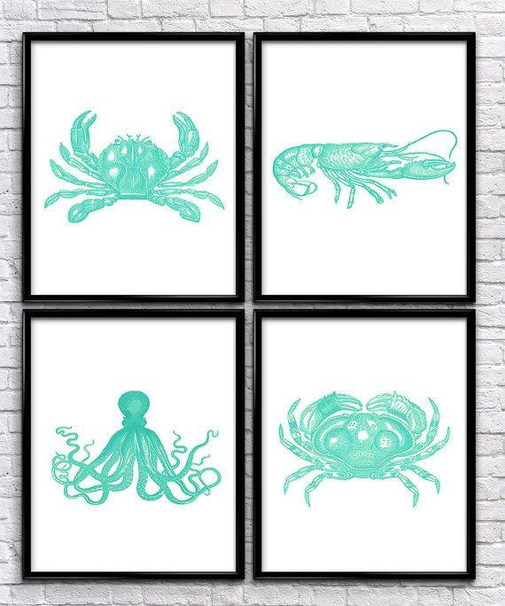 Nautical Sea Creatures | Vintage Prints | Nautical Prints | Home Decor | Office Decor | Printable Wall Art | Vintage Wall Art | Download |