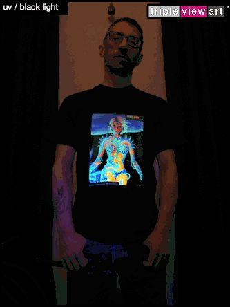 """B.I.O.mechanoid"" UV-Blacklight Fluorescent & Glow-In-The-Dark Phosphorescent Psychedelic Art Mens T-shirt, £20 in Tripleview Art Web Shop.  #psychedelic #psy #trance #psytrance #goatrance #rave #trippy #hippie #esoteric #mystic #spiritual #visionary #symbolism #UV #blacklight #fluorescent #fluoro #fluo #neon #glow #glowinthedark #phosphorescent #luminescent #art #tshirt #transhuman #biomechanoid #cyborg #sciencefiction #scifi #cyberpunk"