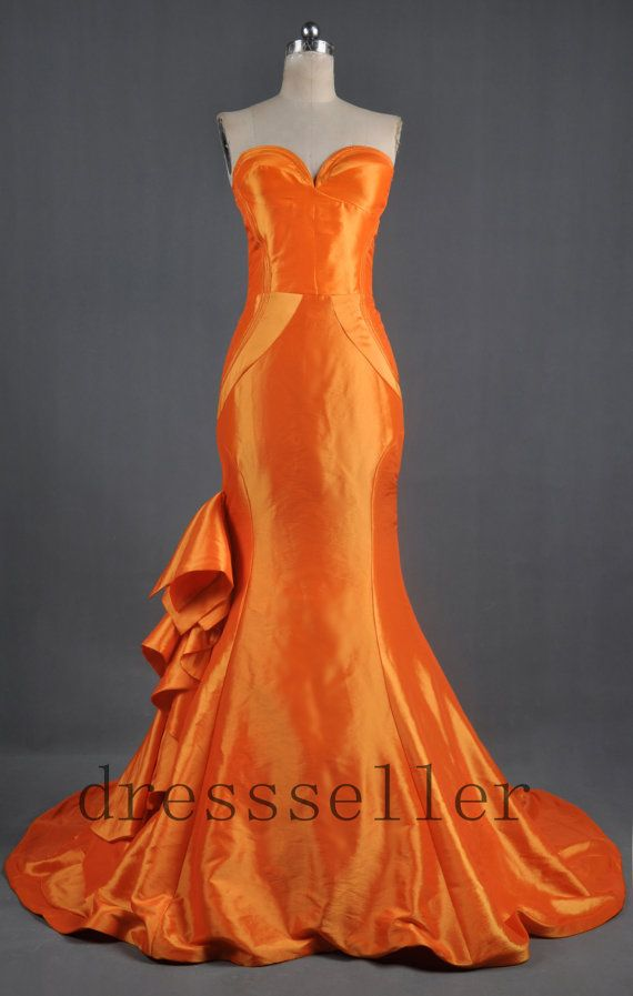 The 452 best the color orange images on pinterest woman fashion custom sweetheart strapless orange taffeta long train mermaid wedding dress junglespirit Images