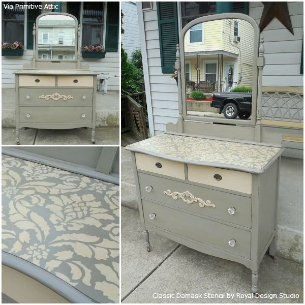 The Classic Damask Stencil was a beautiful choice for this stenciled dresser by Jessica of The Primitive Attic!