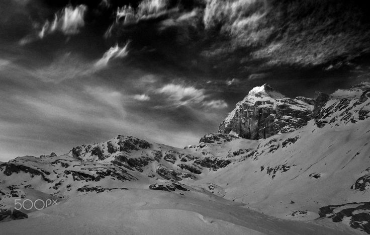 Granta Parey B&W - B & W in the mountains in the moonlight
