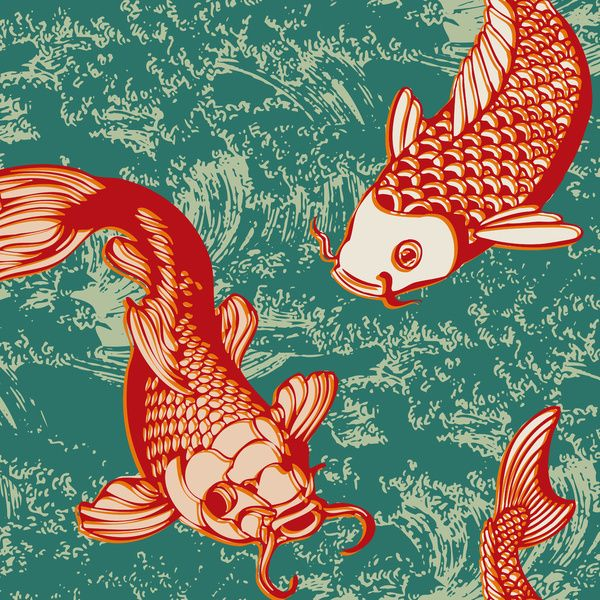 559 best images about design fish sea animals on for Koi fish japanese art