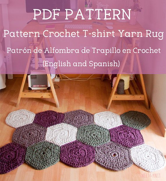 Pattern Crochet T-Shirt Yarn Rug in English and Spanish