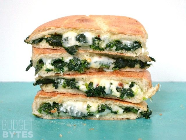 Take your grilled cheese up a notch (or ten) by adding garlic sauteed spinach, feta cheese, and red pepper flakes.