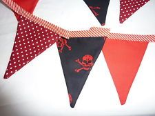 Handmade Fabric Pirate Bunting Ideal for Parties or Bedrooms Kids will love it.