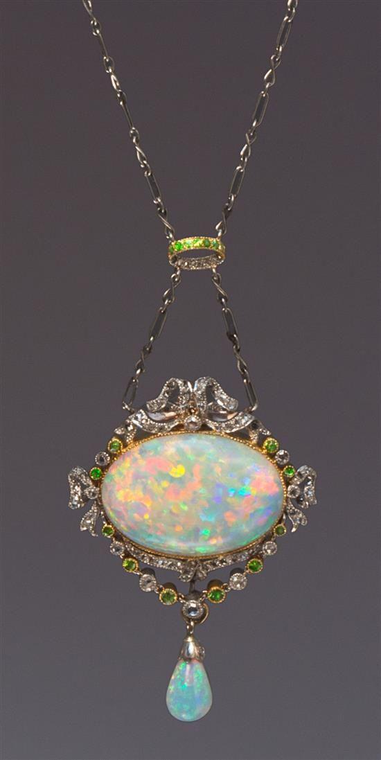 1590 best opal pendants images on pinterest gold pendant gold a belle epoque platinum rose gold opal diamond and demantoid garnet necklace aloadofball Gallery