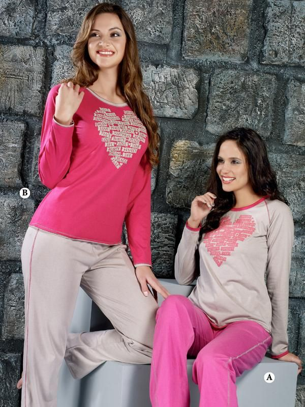 Ladies Night Suit 10592 A  STYLE:Ladies Night Suit Full  Sleves And Full Pyjama PRODUCT CODE: 	10592 A PRODUCT TYPE: 	Sleepwear COLOR: Light Grey Full Sleves T-Shirt With Pink Full Pyjama FABRIC: 	Hosiery Cotton