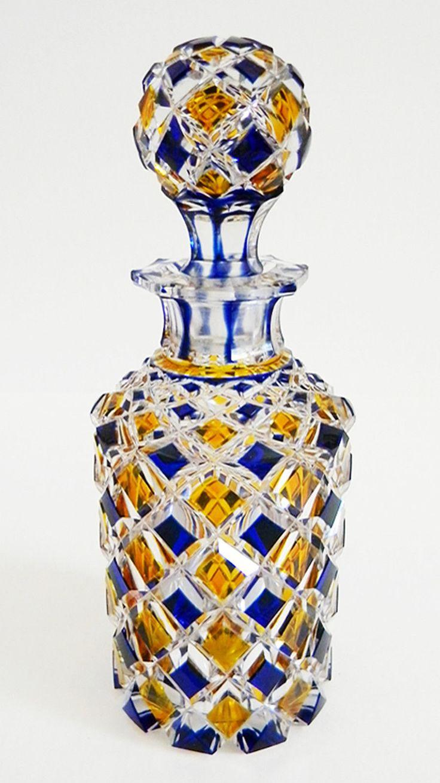 Antique c1840 60 Bohemian Cobalt Blue Amber Overlay Cut Crystal No Reserve | eBay