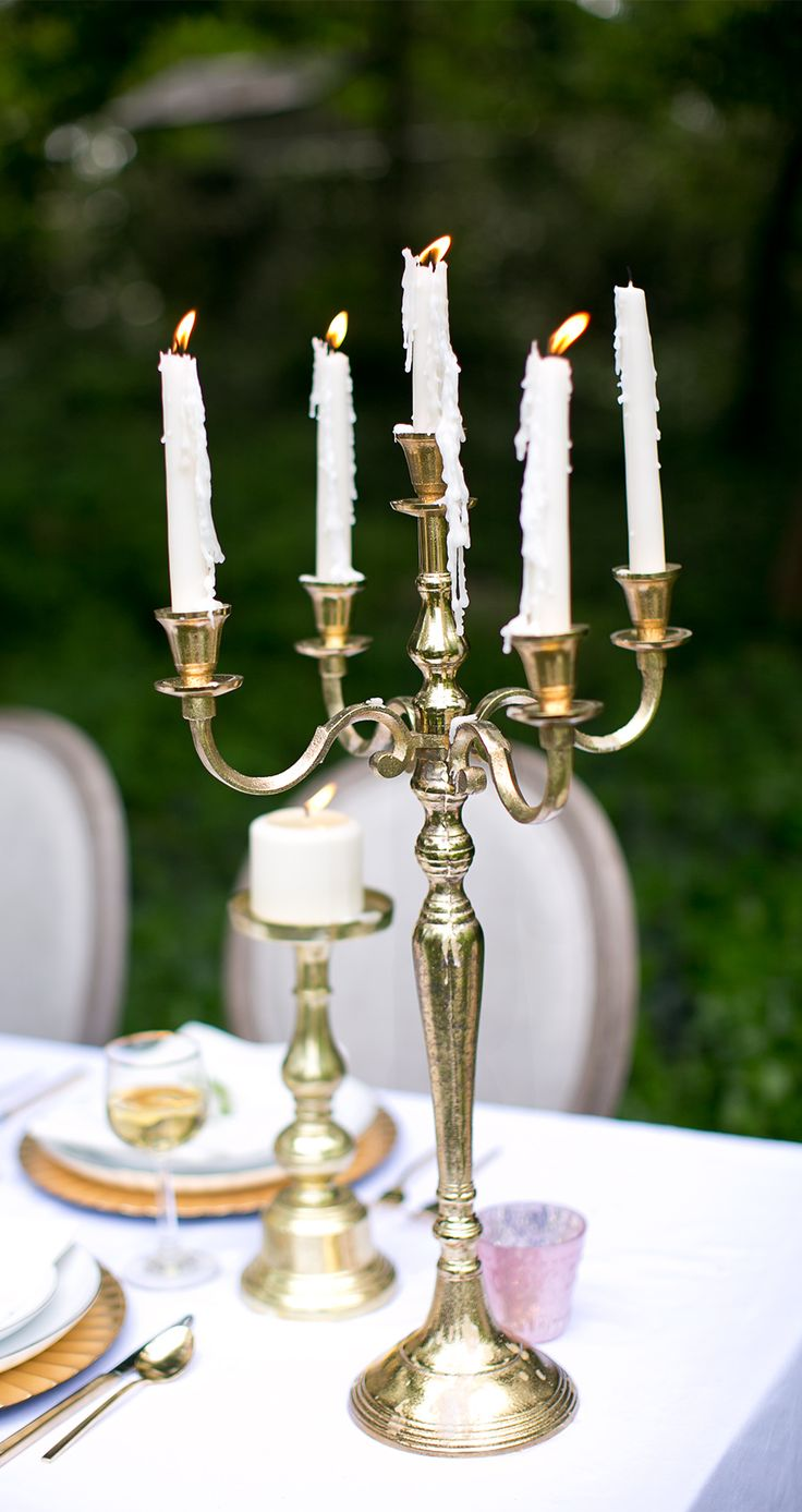 Gold Moretti Candelabra...perfect for an old-world opulent affair.