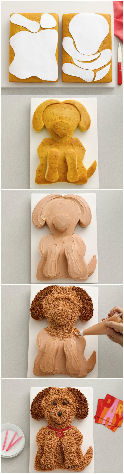 Your pastry bag's grass tip is the key to getting the fur on this gorgeous golden doodle just right. Click through to get the printable template—it makes cutting the cake shapes a breeze!