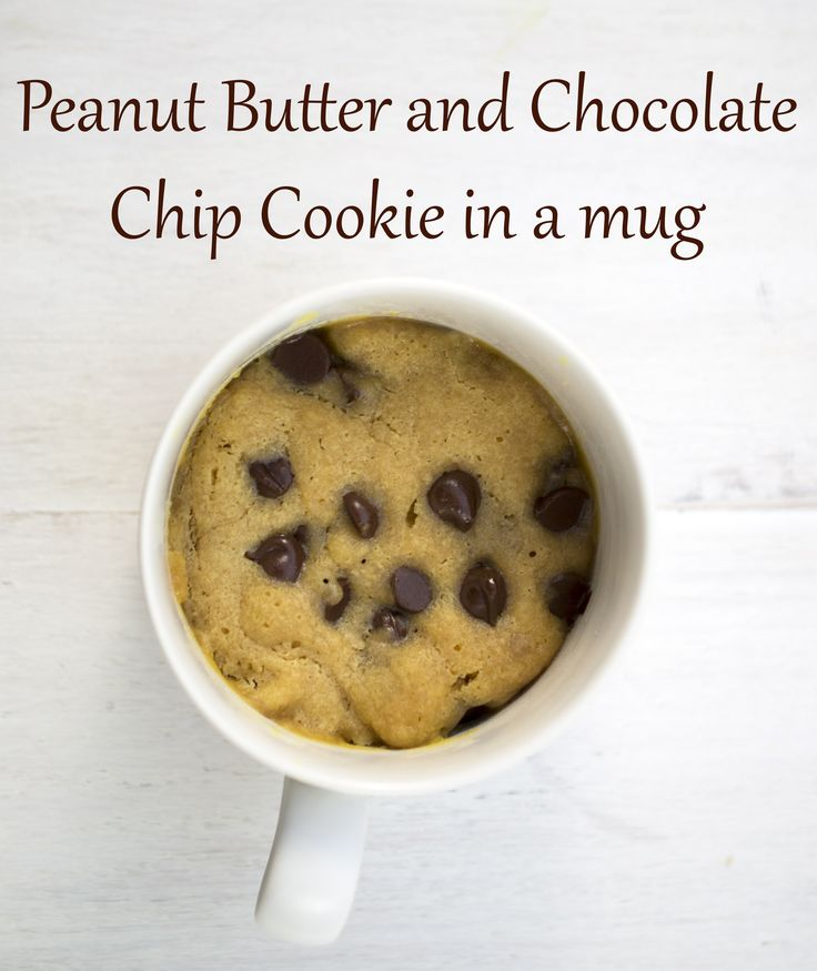 Peanut Butter and Chocolate Chip Cookie in a mug | chefsavvy.com #dessert #cookie #recipe