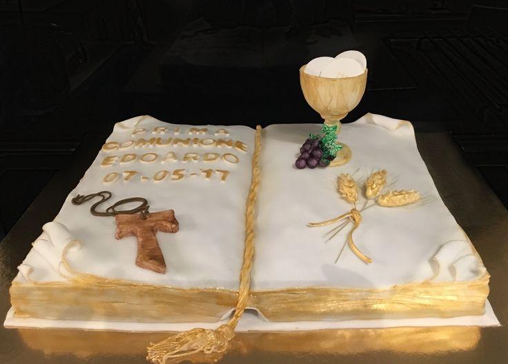 Torta Prima Comunione - Libro - Bibbia - Prima Comunione - le dolci creazioni di Camilla Jesholt Buffatti
