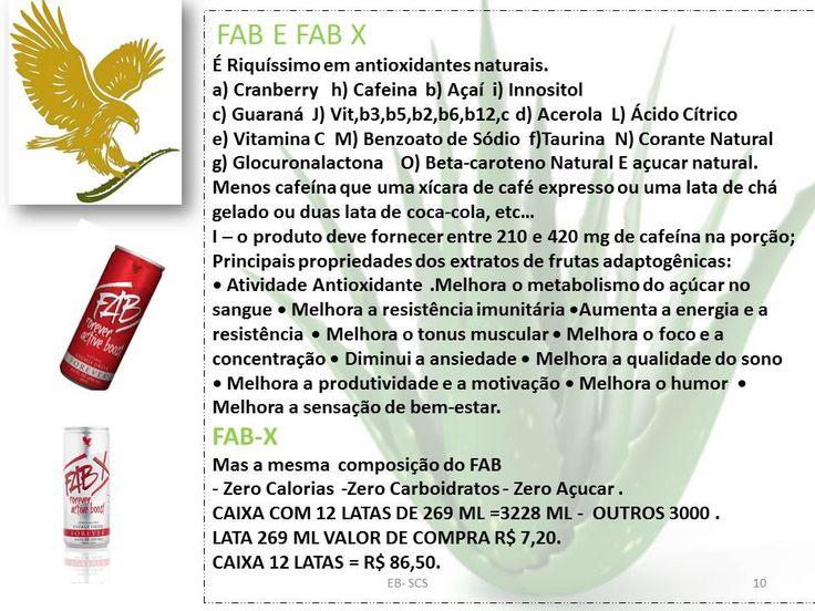 FAB E FAB X É Riquíssimo em antioxidantes naturais.