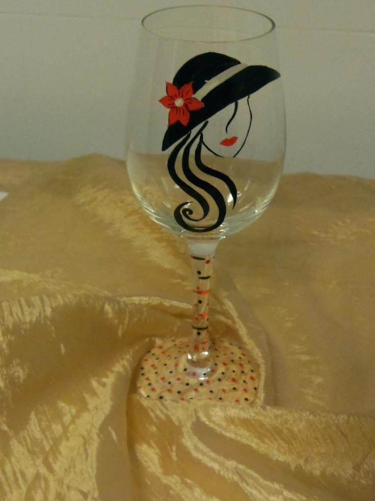 lady wine glass by GulsCrafts on Etsy,