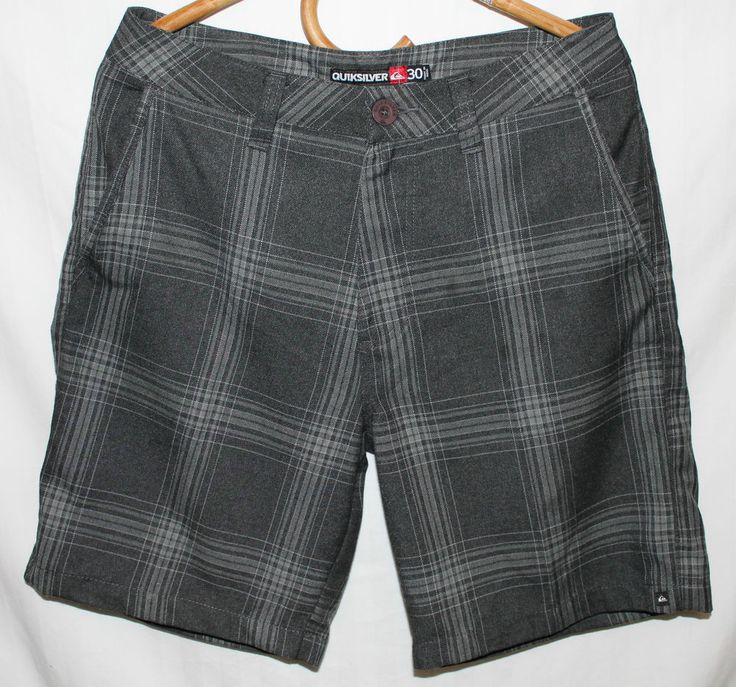 QUIKSILVER Mens DRESS SHoRTS SUMMER SiZE 30 BLACK GREY PLAID DESIGNER EX #CL160