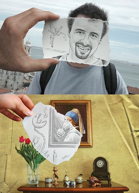 Draw part of photo, take pic with the photo.  Does not have to be a person or painting.