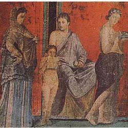 Pintura romana de la Villa de los Misterios de Pompeya.