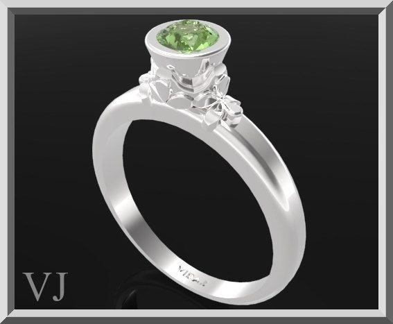Green Peridot Sterling Silver Engagement Ring  $230