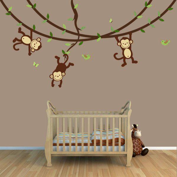 babyzimmer gestalten wandgestaltung affen zweige holzboden