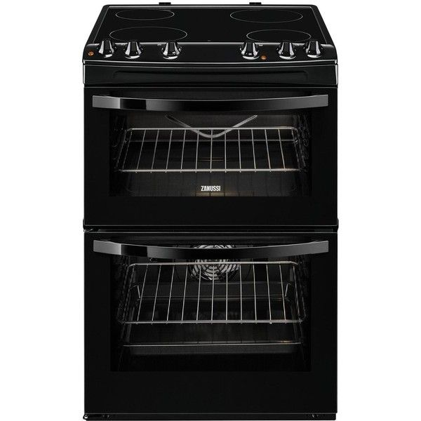 Zanussi Zcv68010Ba 60Cm Electric Freestanding Double Oven ($615) ❤ liked on Polyvore featuring home, kitchen & dining, small appliances, ceramic cooker, kitchen electrics, electric oven, electric cooker and ceramic oven