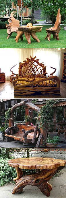 садовая мебель из коряг